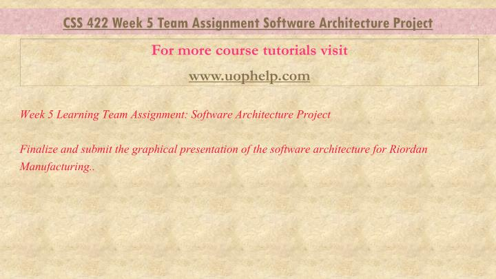 css 422 week 4 Css 422 week 4 individual: system reference guide – quality attributes complete the system reference guide for your employer, and include an architecture for a new employee websitefirst, identify the quality attributes that lead to the architecture, then create a high-level architectural diagram related to the qualities you identified for this assignment.