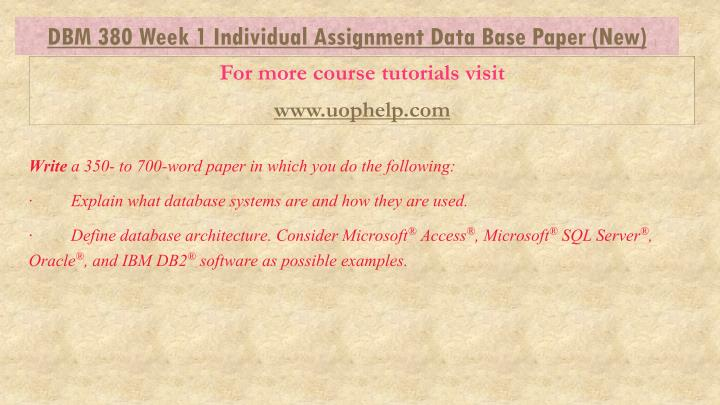 dbm 380 database concepts weekly summary Dbm 380 week 2 individual: database environment paper as one of the program outcomes for the bachelor of science in information technology program, students must design and develop a database using professional principles and standards.