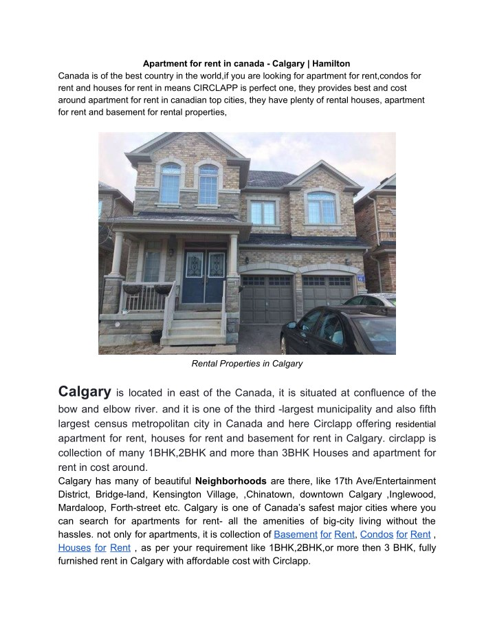 PPT - Apartment for rent in canada - Calgary | Hamilton ...