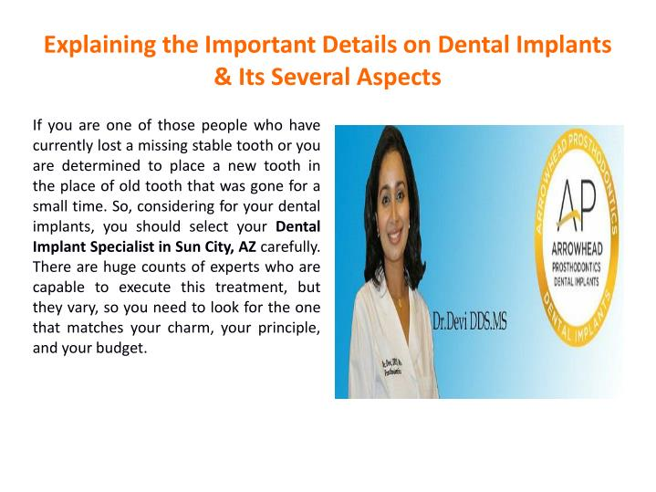 explaining the important details on dental implants its several aspects n.