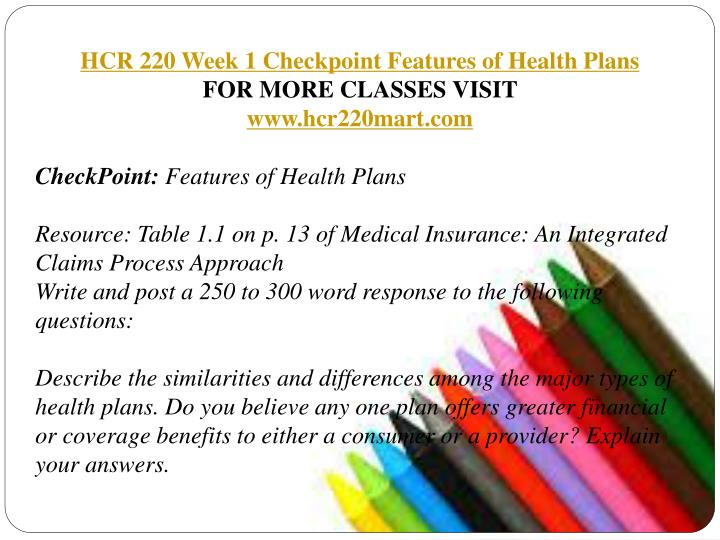 hcr 230 wk 1 checkpoint 1 Hcr/230 class hcr 230 final project: design a financial policy part 1 of 2 hcr 230 final project: design a financial policy part 2 of 2 hcr 230 capstone checkpoint hcr 230 week two 2 discussion questions hcr 230 week four 4 discussion questions hcr 230 week six 6 discussion questions hcr 230 week eight 8 discussion questions hcr 230 assignment: features of private payer hcr 230 checkpoint.