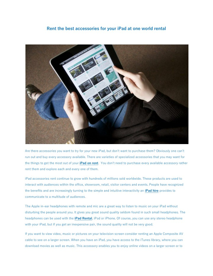 PPT - Rent the best accessories for your iPad at one world