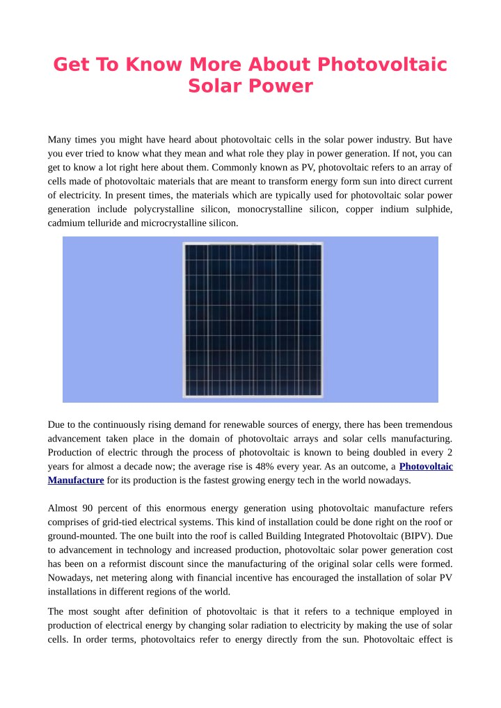 get to know more about photovoltaic solar power n.