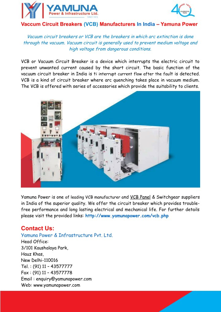 Vaccum Circuit Breakers VCB Manufacturers In India Yamuna Power Vacuum Or