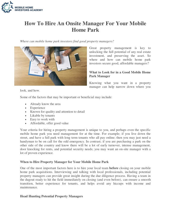 PPT - Mobile Home Parks, investment, mobile home parks for sale, on