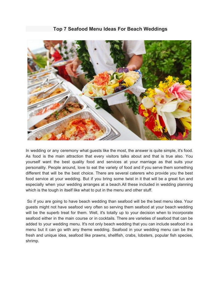top 7 seafood menu ideas for beach weddings n.