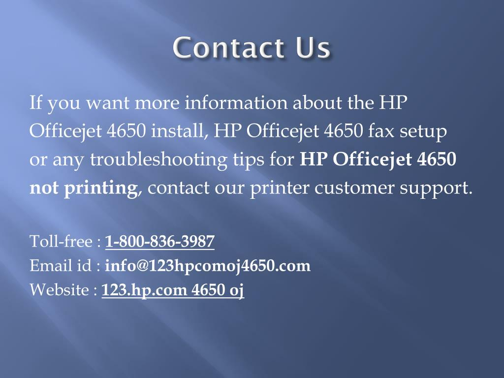 PPT - HP Officejet 4650 Wireless Printer Setup and Installation