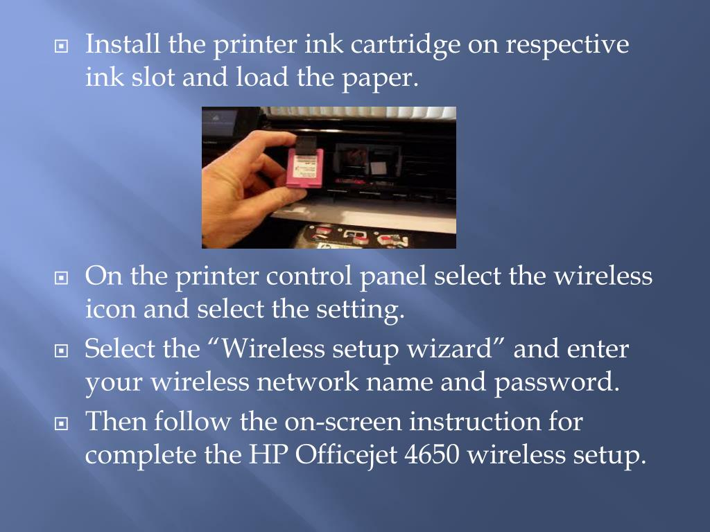 PPT - HP Officejet 4650 Wireless Printer Setup and