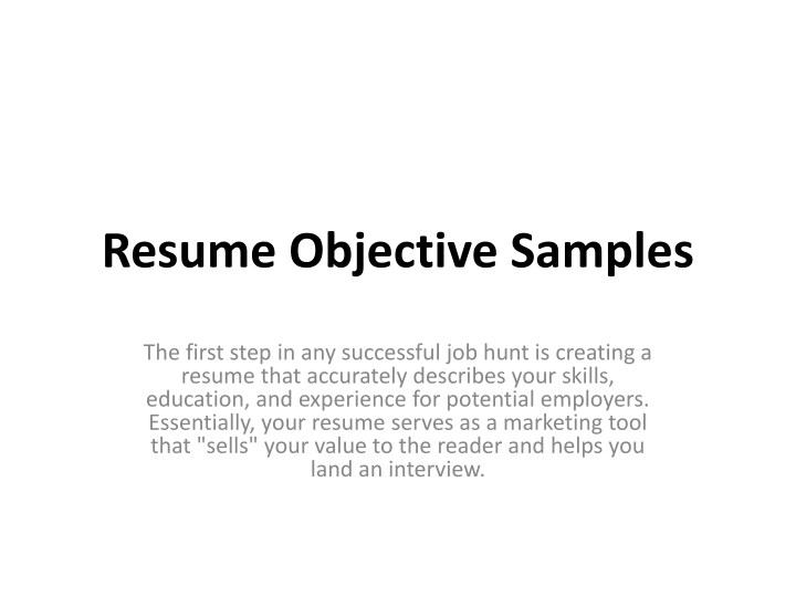 Ppt Resume Objective Samples Powerpoint Presentation Free