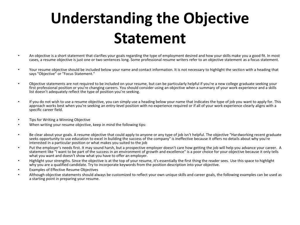 ppt - resume objective samples powerpoint presentation  free download
