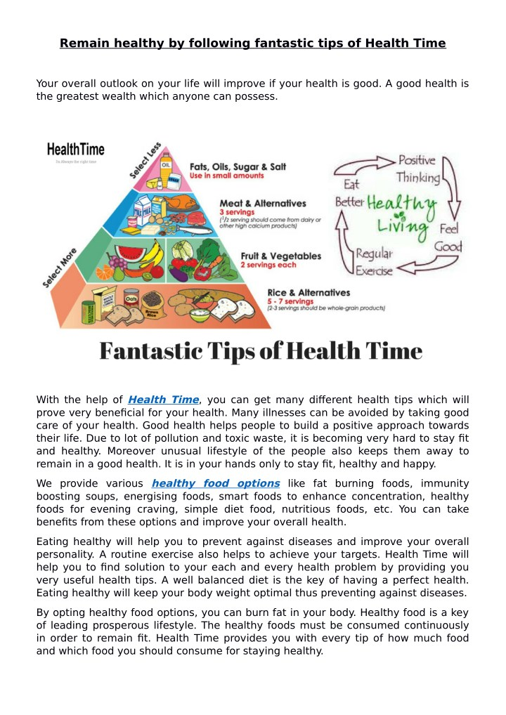remain healthy by following fantastic tips n.