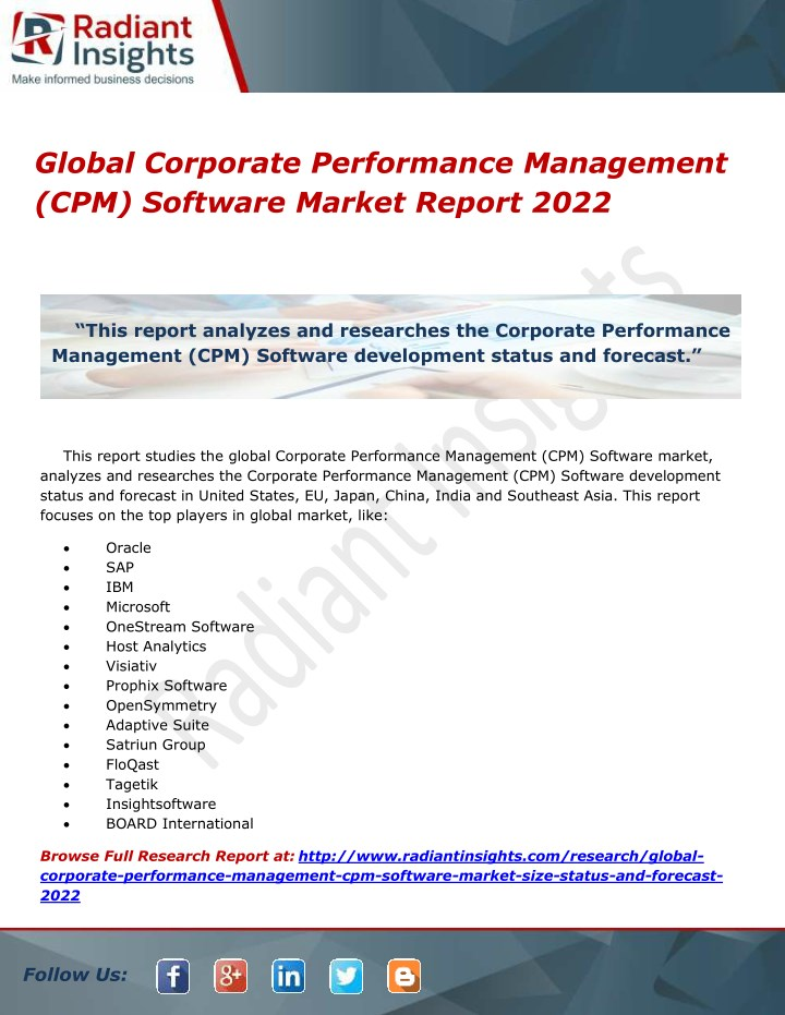 global corporate performance management n.