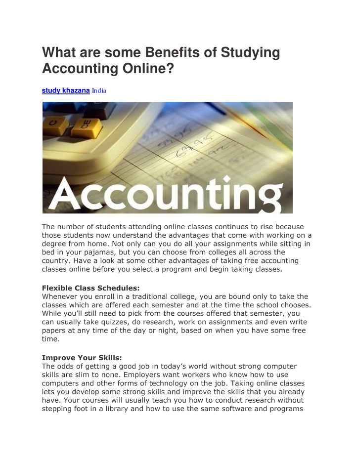 What Are Some Benefits Of Studying Accounting Online