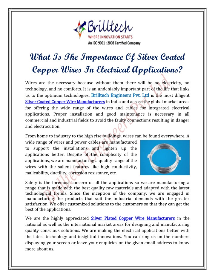 PPT - What Is The Importance Of Silver Coated Copper Wires