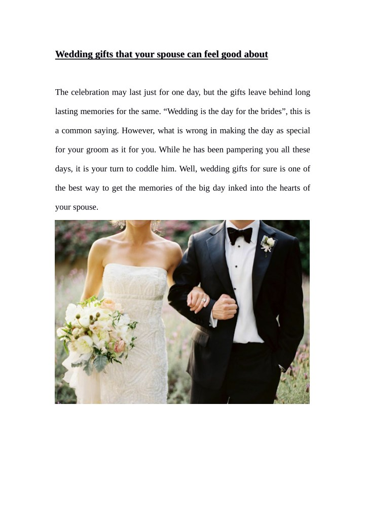 Ppt Wedding Gifts That Your Spouse Can Feel Good About Powerpoint