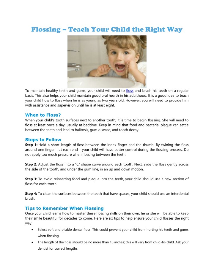 flossing teach your child the right way n.