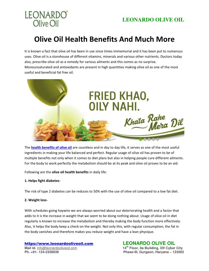 PPT - Olive Oil Health Benefits And Much More PowerPoint