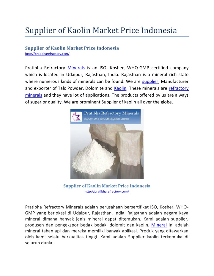supplier of kaolin market price indonesia n.