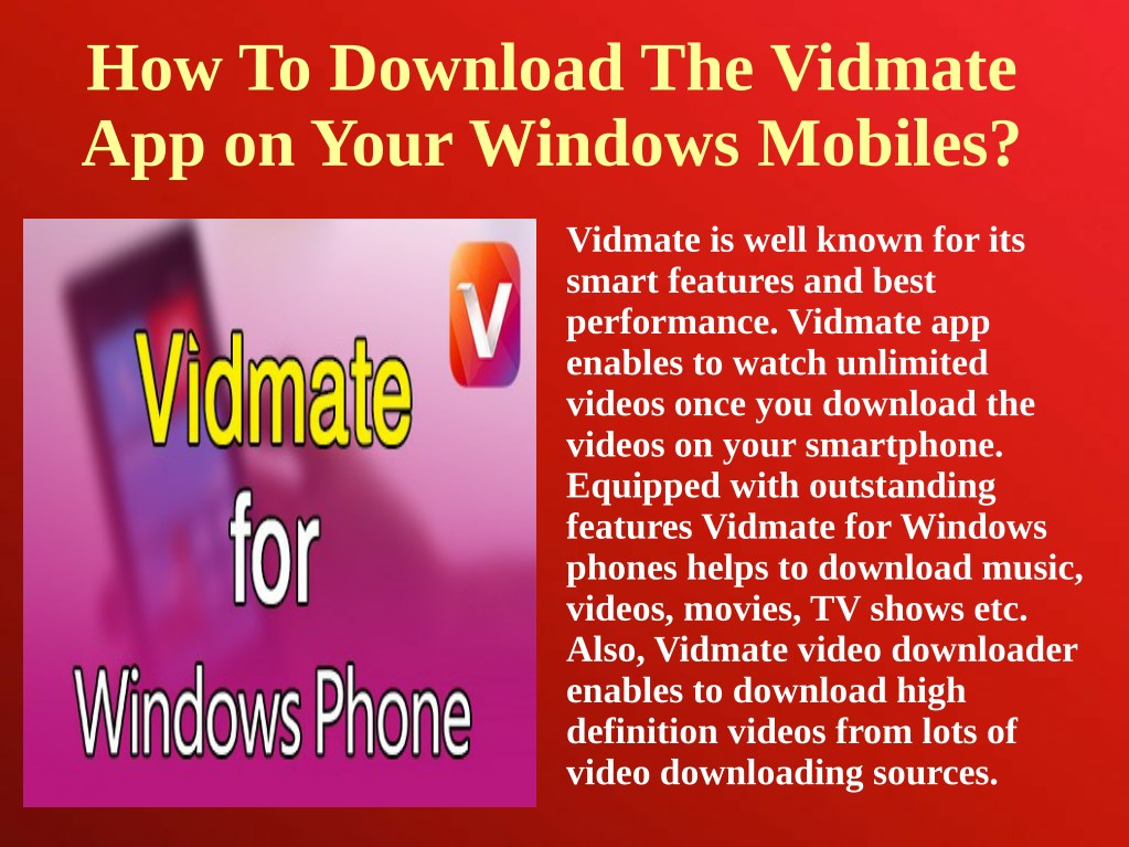 PPT - How to download the Vidmate app on your Windows