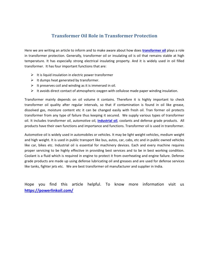 transformer oil role in transformer protection n.