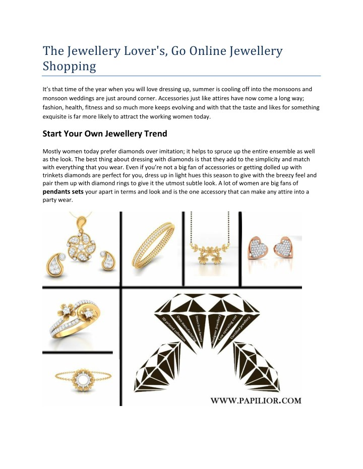 the jewellery lover s go online jewellery shopping n.