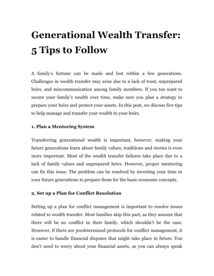 generational wealth transfer 5 tips to follow n.