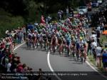 the peloton in action during stage 3 from