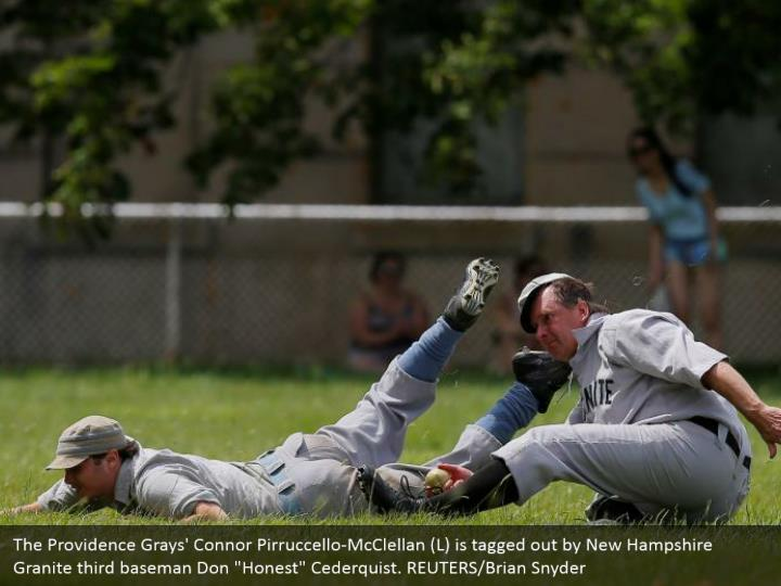 "The Providence Grays' Connor Pirruccello-McClellan (L) is tagged out by New Hampshire Granite third baseman Don ""Honest"" Cederquist. REUTERS/Brian Snyder"