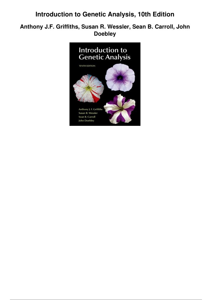 introduction to genetic analysis 10th edition n.