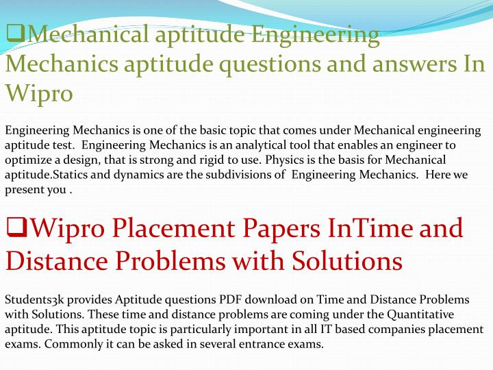 Aptitude for answers questions pdf freshers and wipro
