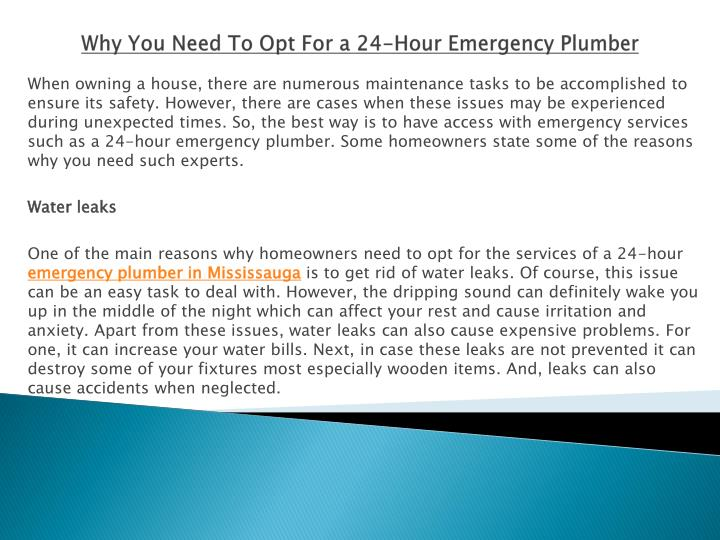 why you need to opt for a 24 hour emergency plumber n.
