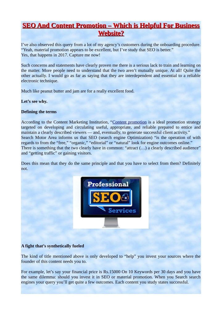 seo and content promotion which is helpful n.