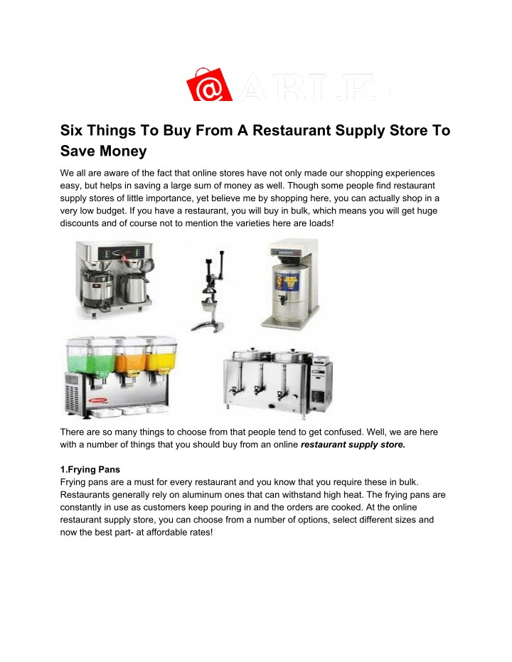 Ppt Six Things To Buy From A Restaurant Supply Store To