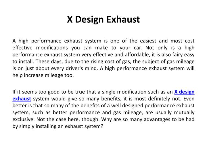 PPT - X design exhaust PowerPoint Presentation - ID:7626189