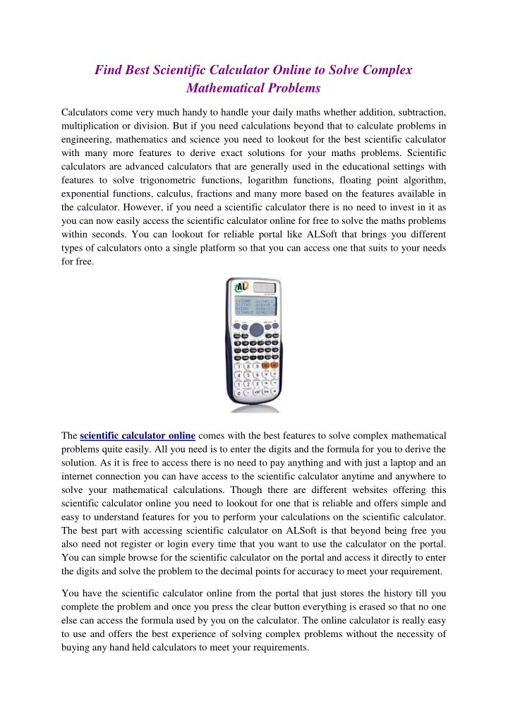 PPT - Scientific Calculator Online PowerPoint Presentation