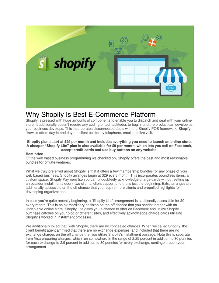why shopify is best e commerce platform shopify n.
