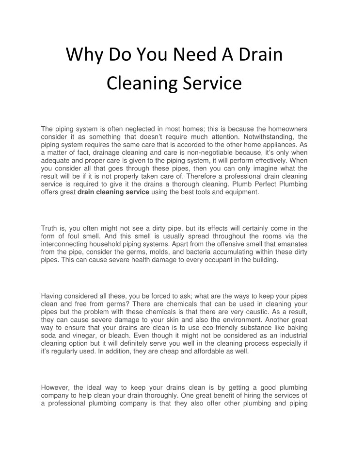 why do you need a drain cleaning service n.