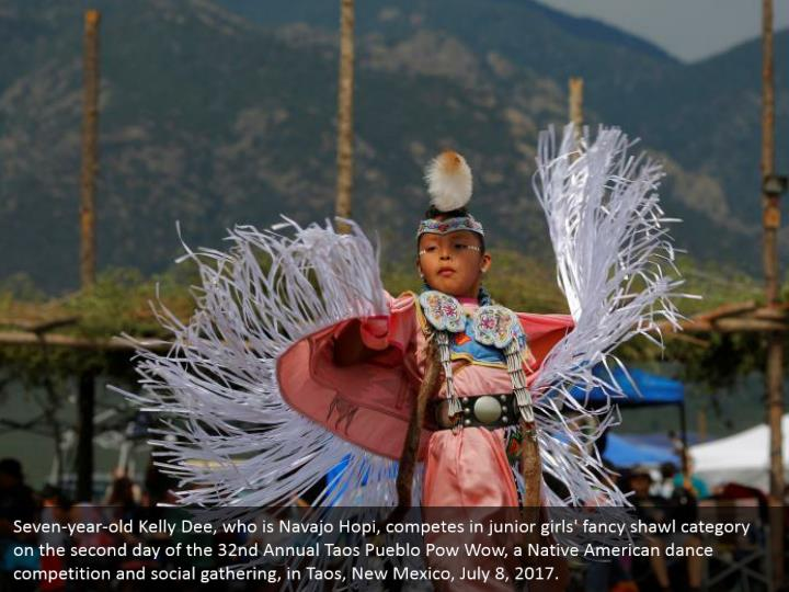 Seven-year-old Kelly Dee, who is Navajo Hopi, competes in junior girls' fancy shawl category on the second day of the 32nd Annual Taos Pueblo Pow Wow, a Native American dance competition and social gathering, in Taos, New Mexico, July 8, 2017.
