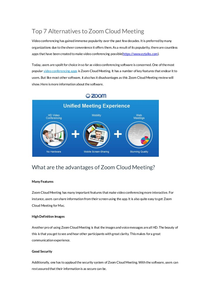 PPT - ezTalks: Alternatives to Zoom Cloud Meeting PowerPoint