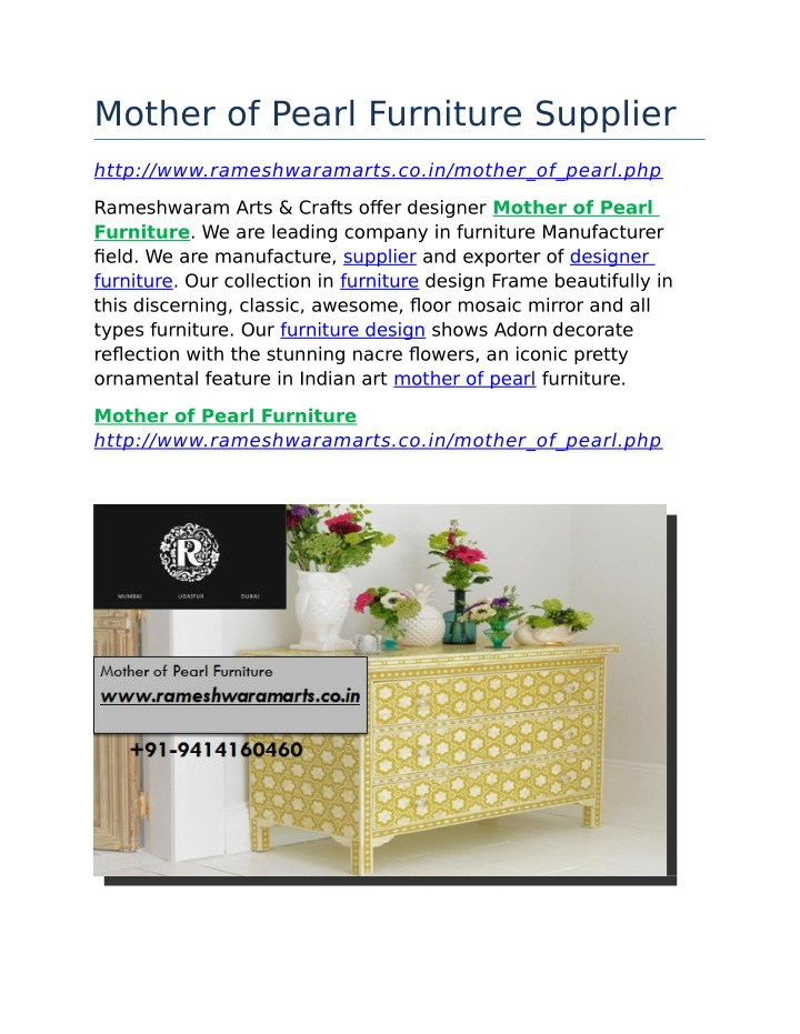 mother of pearl furniture supplier n.