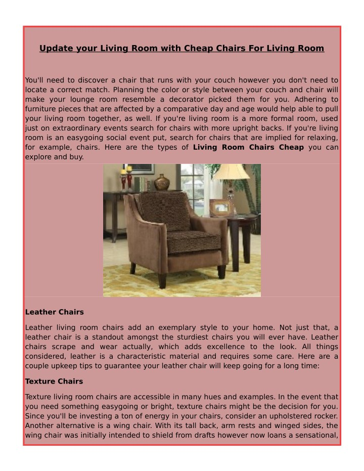 PPT - Update your Living Room with Cheap Chairs For Living Room ...
