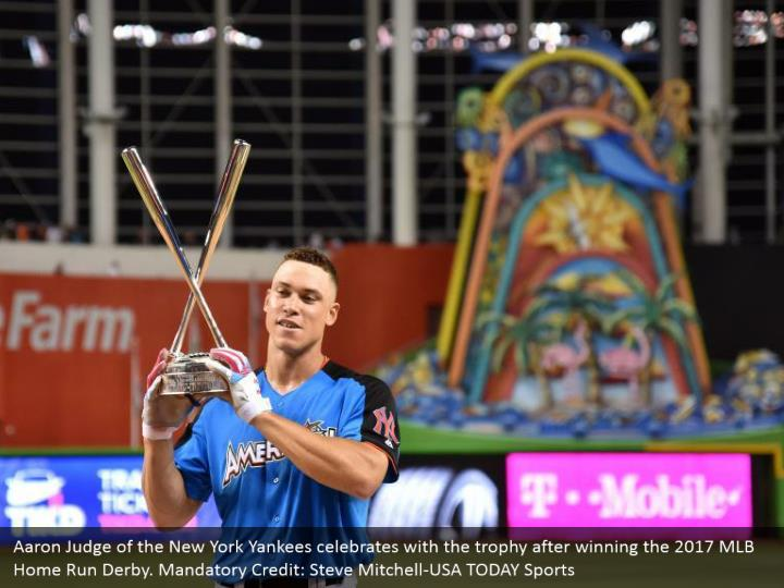 Aaron Judge of the New York Yankees celebrates with the trophy after winning the 2017 MLB Home Run Derby. Mandatory Credit: Steve Mitchell-USA TODAY Sports