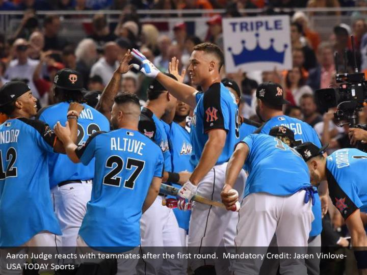 Aaron Judge reacts with teammates after the first round.  Mandatory Credit: Jasen Vinlove-USA TODAY Sports
