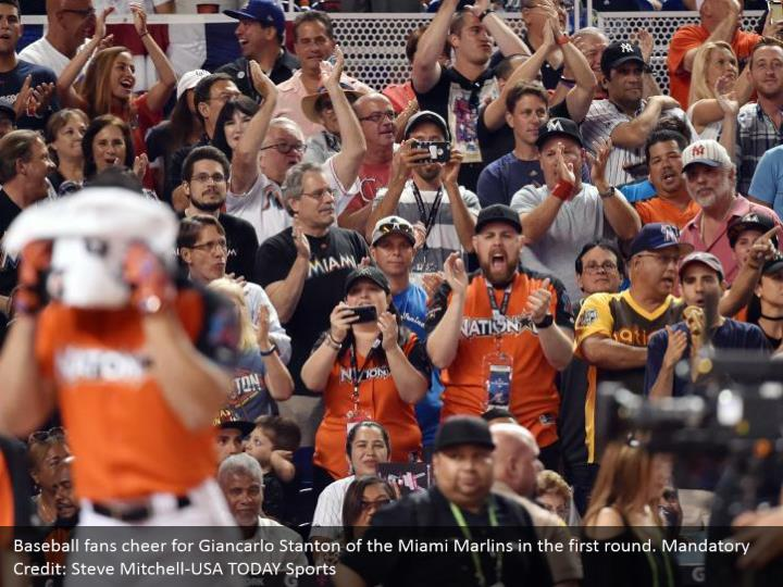 Baseball fans cheer for Giancarlo Stanton of the Miami Marlins in the first round. Mandatory Credit: Steve Mitchell-USA TODAY Sports