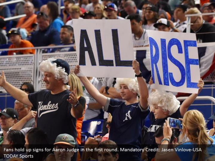Fans hold up signs for Aaron Judge in the first round. Mandatory Credit: Jasen Vinlove-USA TODAY Sports