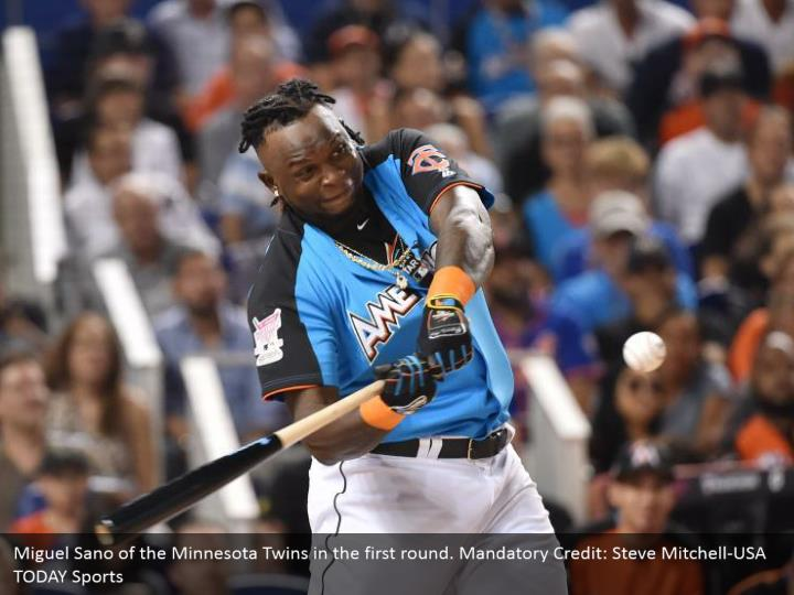 Miguel Sano of the Minnesota Twins in the first round. Mandatory Credit: Steve Mitchell-USA TODAY Sports