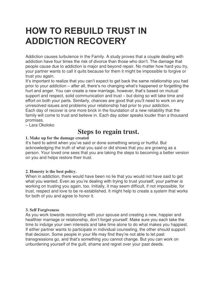 how to rebuild trust in addiction recovery n.