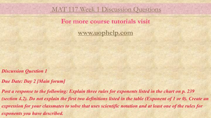 mat 117 version 8 weeks 1 9 Math 117 week 6 quiz save cancel can anyone help with math 117 week 8 appendix week 6 quiz axia mat 116 help 6a=6-b and 6a=4-b use the method of.