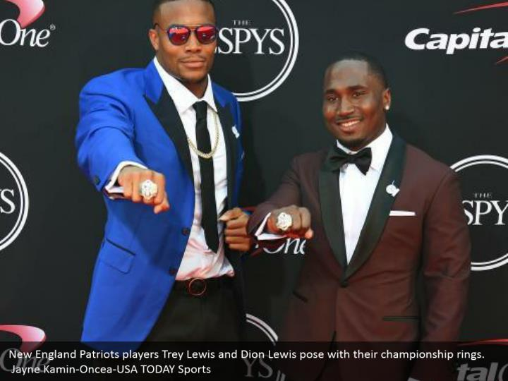 New England Patriots players Trey Lewis and Dion Lewis pose with their championship rings.  Jayne Kamin-Oncea-USA TODAY Sports