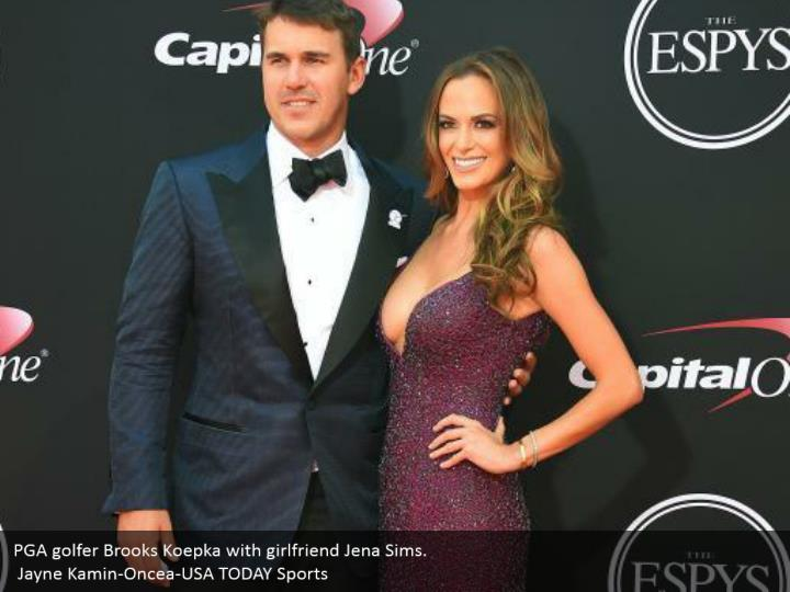 PGA golfer Brooks Koepka with girlfriend Jena Sims.  Jayne Kamin-Oncea-USA TODAY Sports